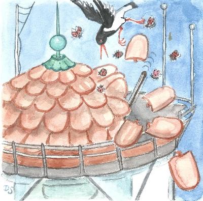 Vogel stößt Dachziegel vom Leuchtturm