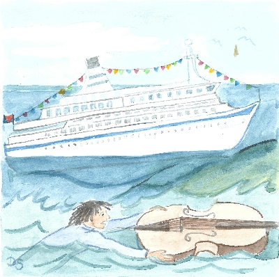 Kontrabassist hält sich im Meer an seinem Instrument treibend fest, ein Kreuzfahrtschiff fährt vorbei