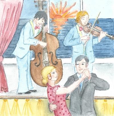 Die beiden Musiker spielen und Menschen tanzen auf einem Schiff
