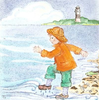 Daniel am Strand mit nasen Füßen
