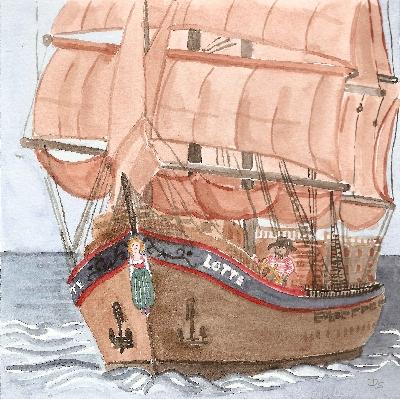 das große Segelschiff Lotte unter vollen Segeln mit Galionsfigur